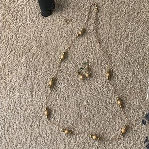 Chico's gold beaded necklace and earrings